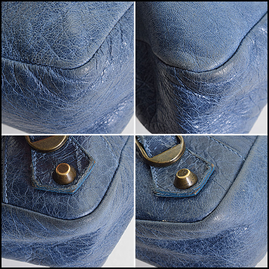 RDC9649 Balenciaga Bleu Chevre Leather Classic Hardware First Bag corners
