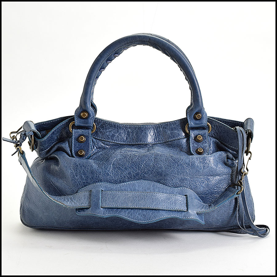 RDC9649 Balenciaga Bleu Chevre Leather Classic Hardware First Bag back