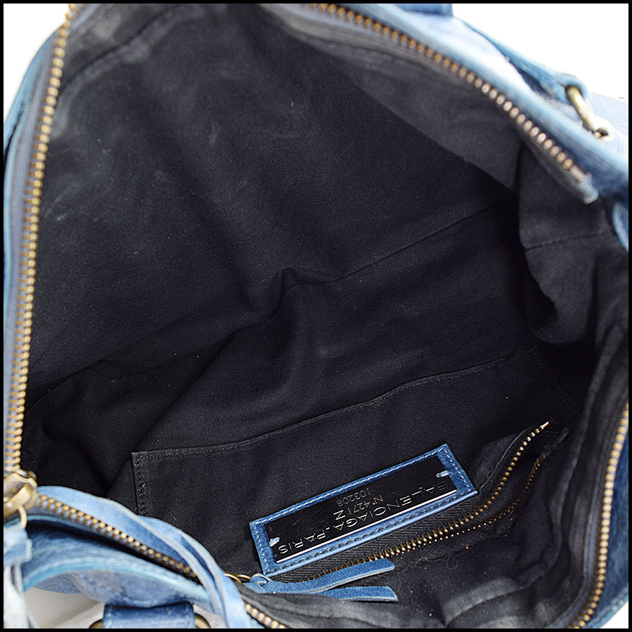 RDC9649 Balenciaga Bleu Chevre Leather Classic Hardware First Bag inside