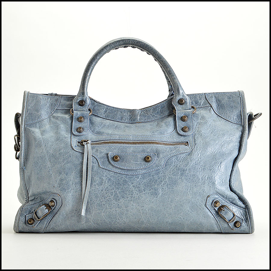 RDC-7827 Balenciaga Bleu Glacier Goatskin Leather City Handbag
