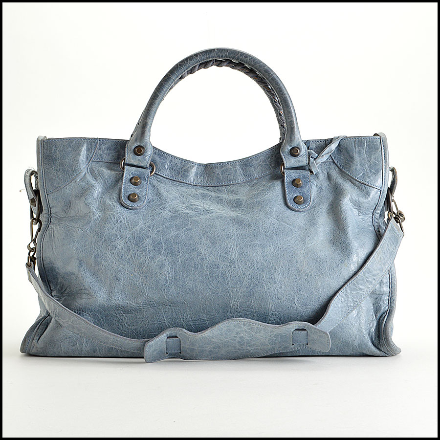 RDC-7827 Balenciaga Bleu Glacier Goatskin Leather City Handbag back