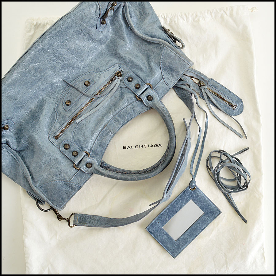 RDC-7827 Balenciaga Bleu Glacier Goatskin Leather City Handbag Extras