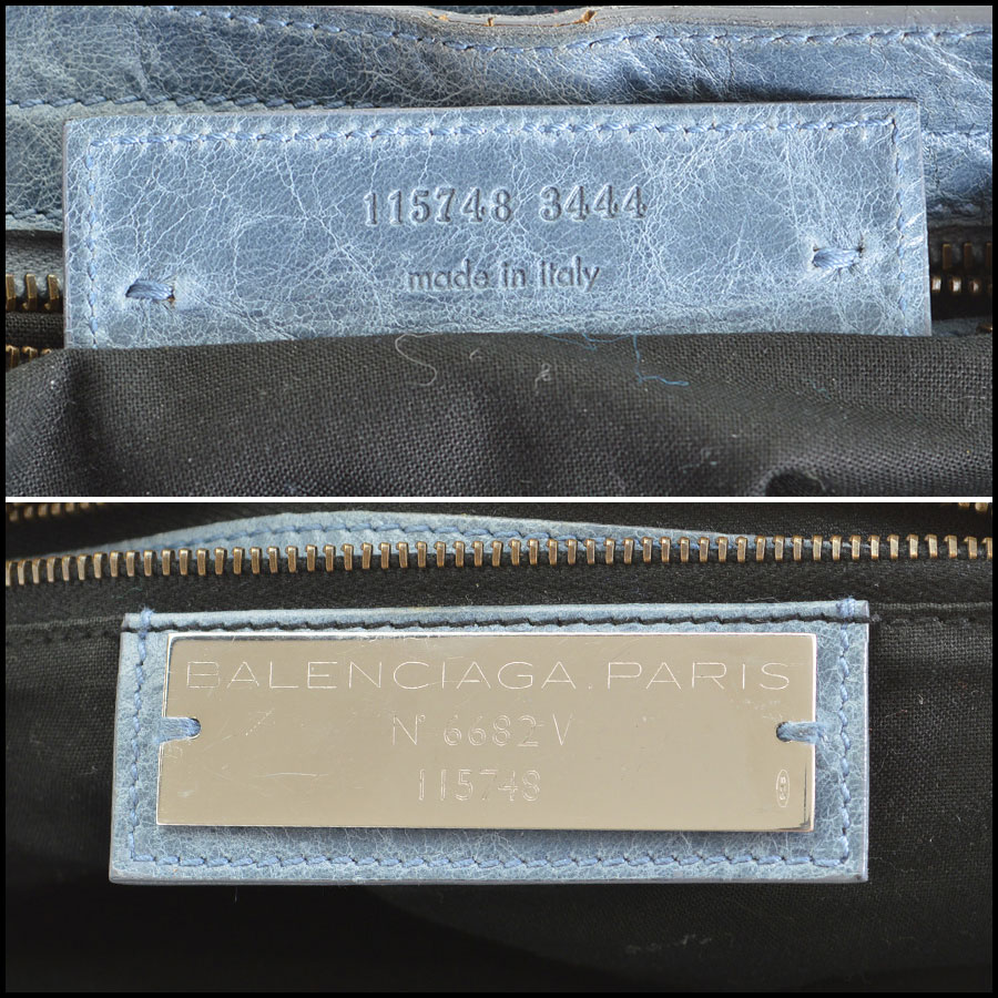 RDC-7827 Balenciaga Bleu Glacier Goatskin Leather City Handbag code tag