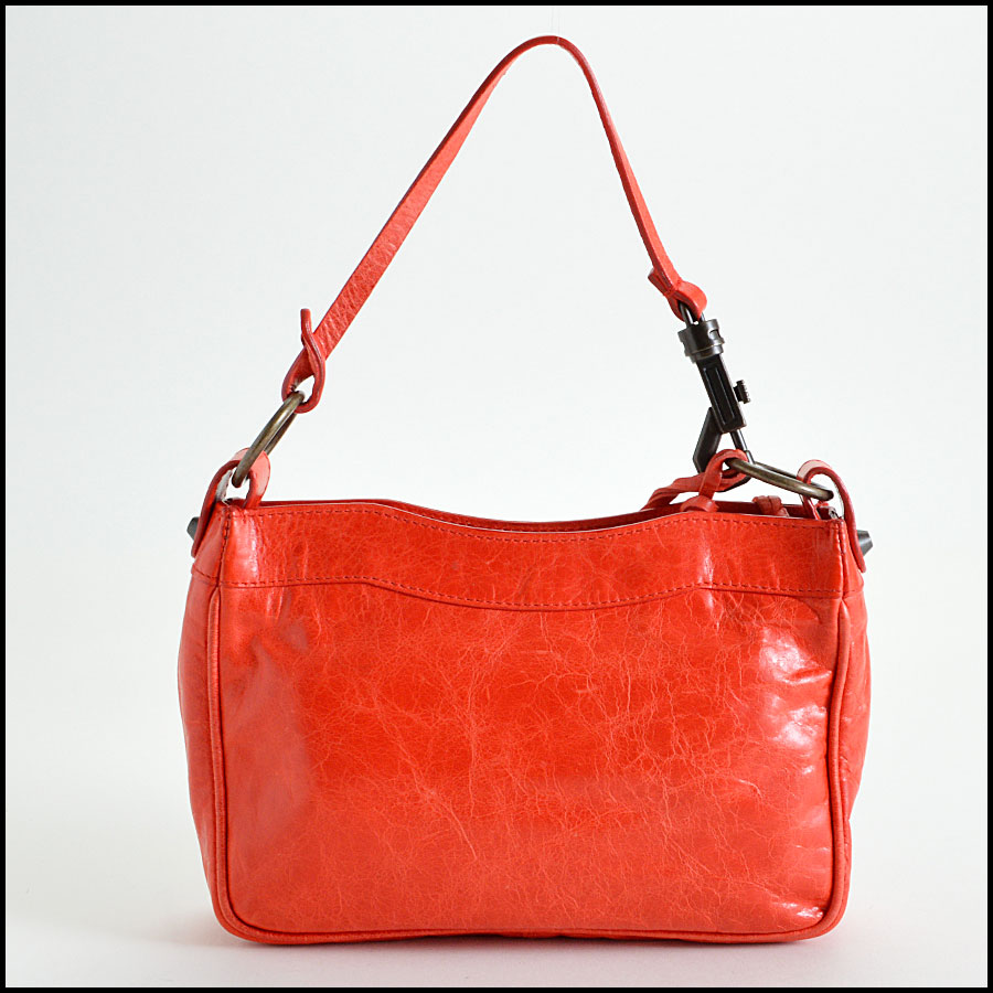 Balenciaga Coral Red Shoulder Clutch Handbag Back