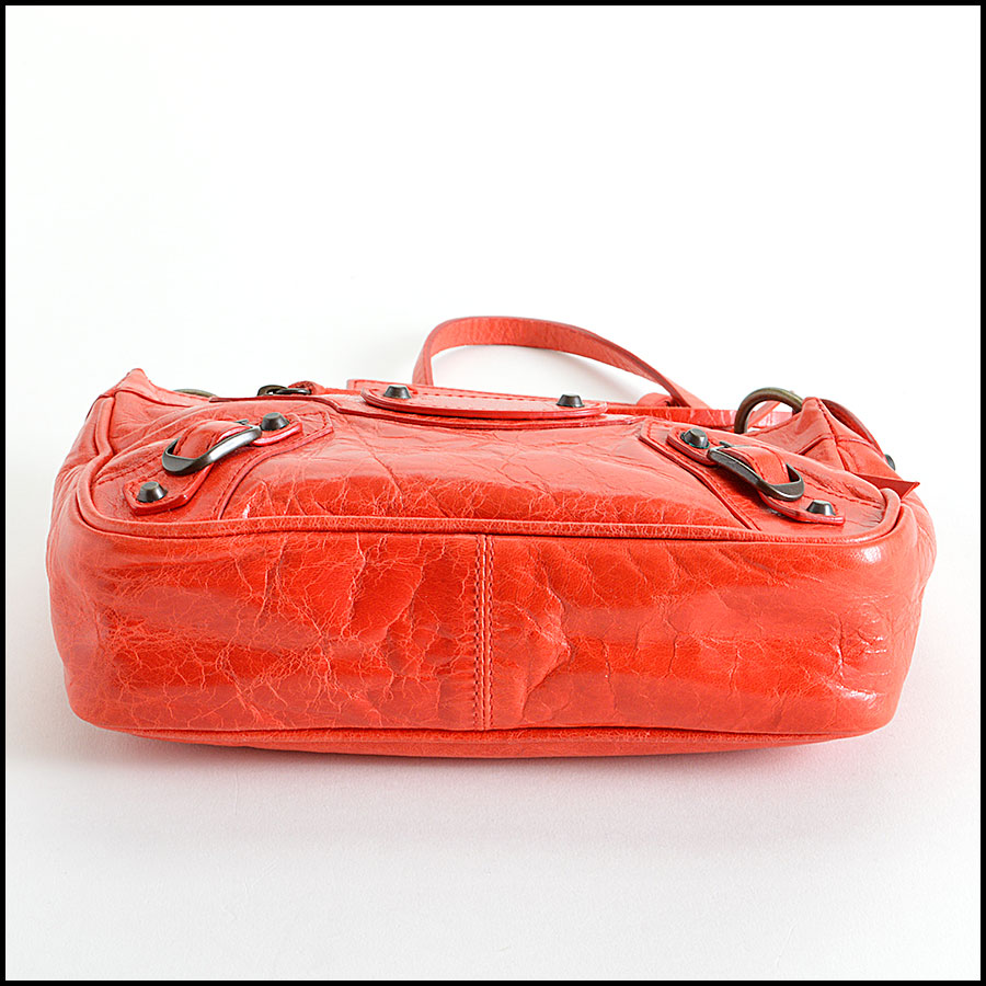 Balenciaga Coral Red Shoulder Clutch Handbag Bottom