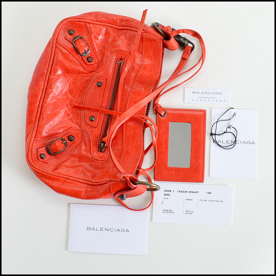 Balenciaga Coral Red Shoulder Clutch Handbag Extras