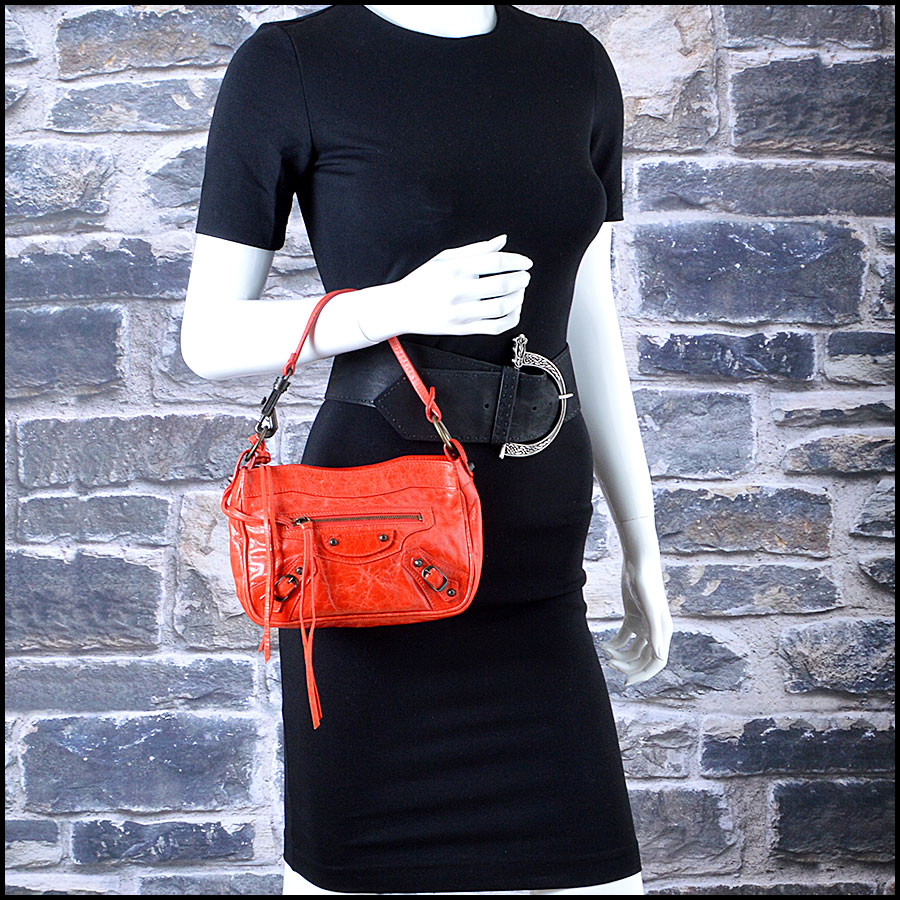 Balenciaga Coral Red Shoulder Clutch Handbag Mannequin