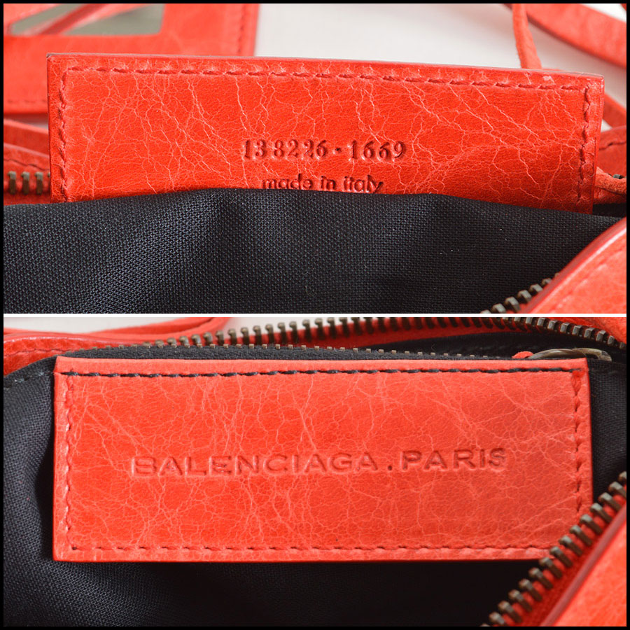 Balenciaga Coral Red Shoulder Clutch Handbag Tag1
