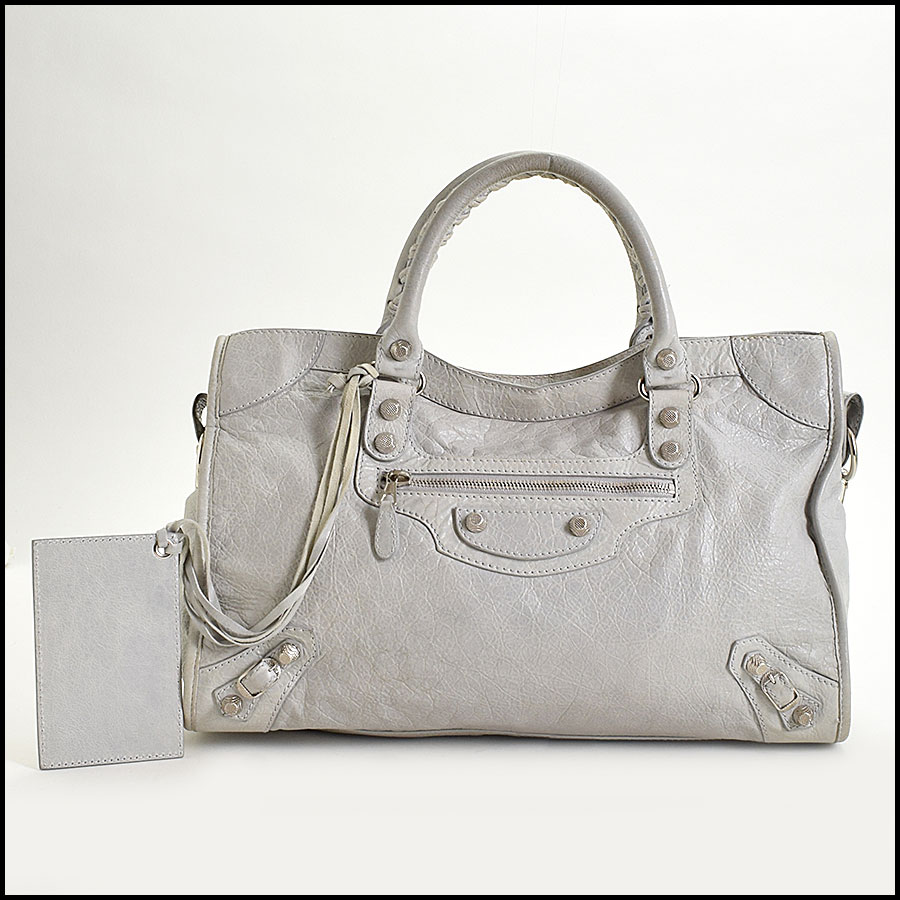 RDC9673 Balenciaga Gris Ciment Lambskin 12mm Silver Giant Hardware City Bag