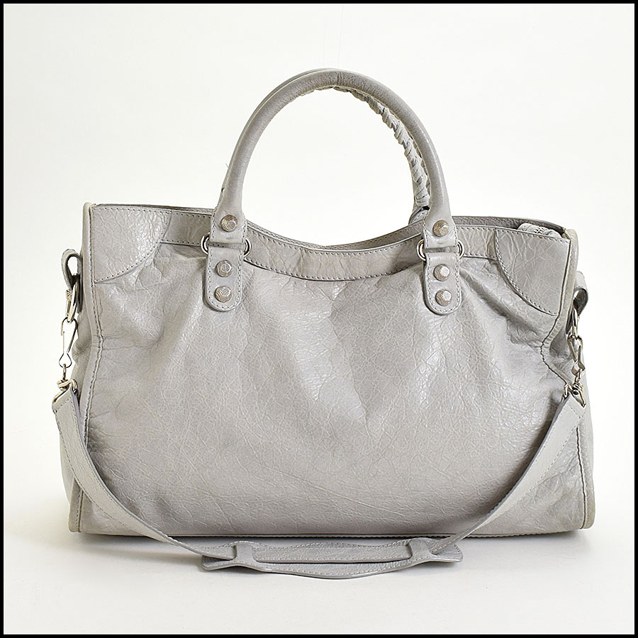 RDC9673 Balenciaga Gris Ciment Lambskin 12mm Silver Giant Hardware City Bag back