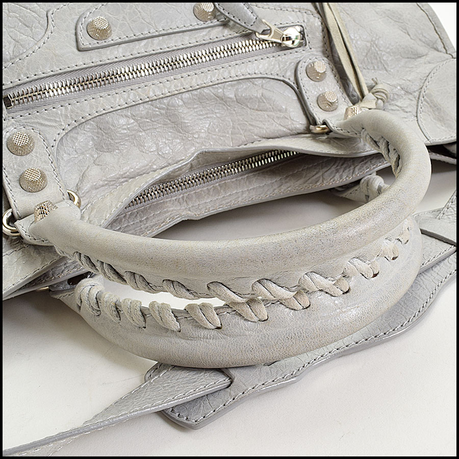 RDC9673 Balenciaga Gris Ciment Lambskin 12mm Silver Giant Hardware City Bag handle
