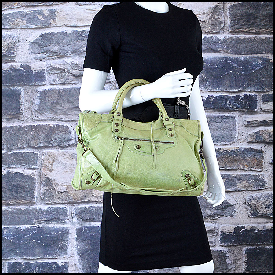 Balenciaga pistachio Green City Handbag