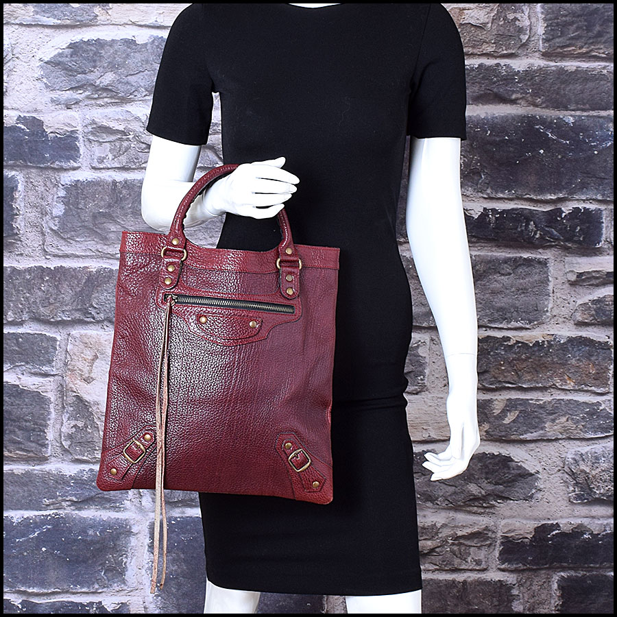 RDC9653 Balenciaga 2001 Bordeaux Caribou Le Dix Flat Brass Tote Bag model