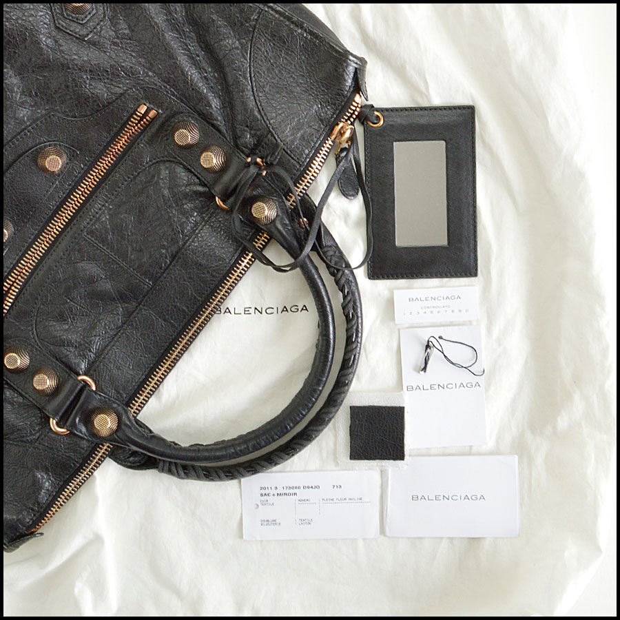 RDC8361 Balenciaga black 21MM rose gold hardware work bag extras