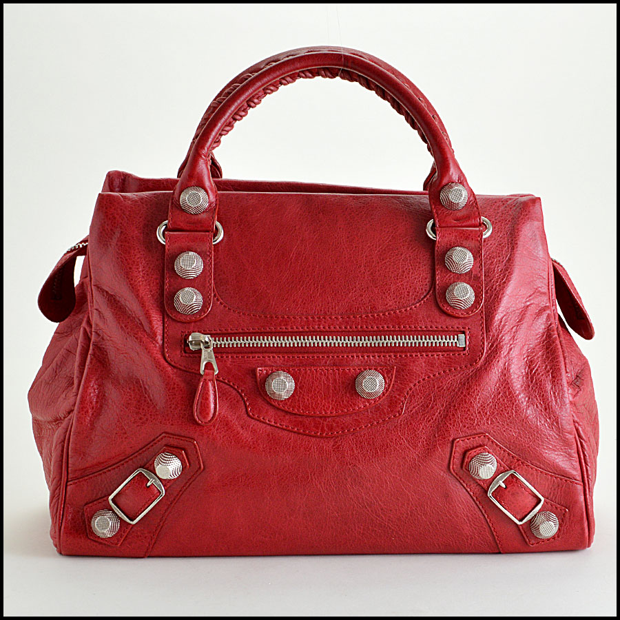 Balenciaga Ruby Red 21mm Silver Giant Mid-Day Tote image