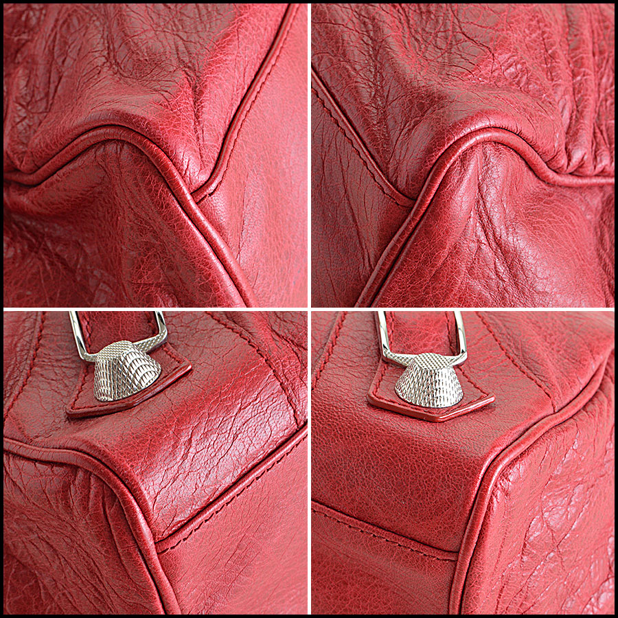 Balenciaga Ruby Red 21mm Silver Giant Mid-Day Tote Corners