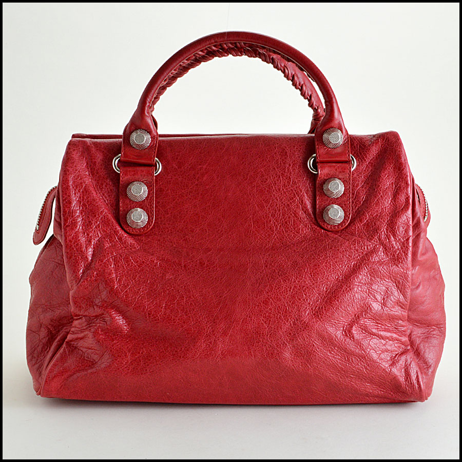 Balenciaga Ruby Red 21mm Silver Giant Mid-Day Tote back