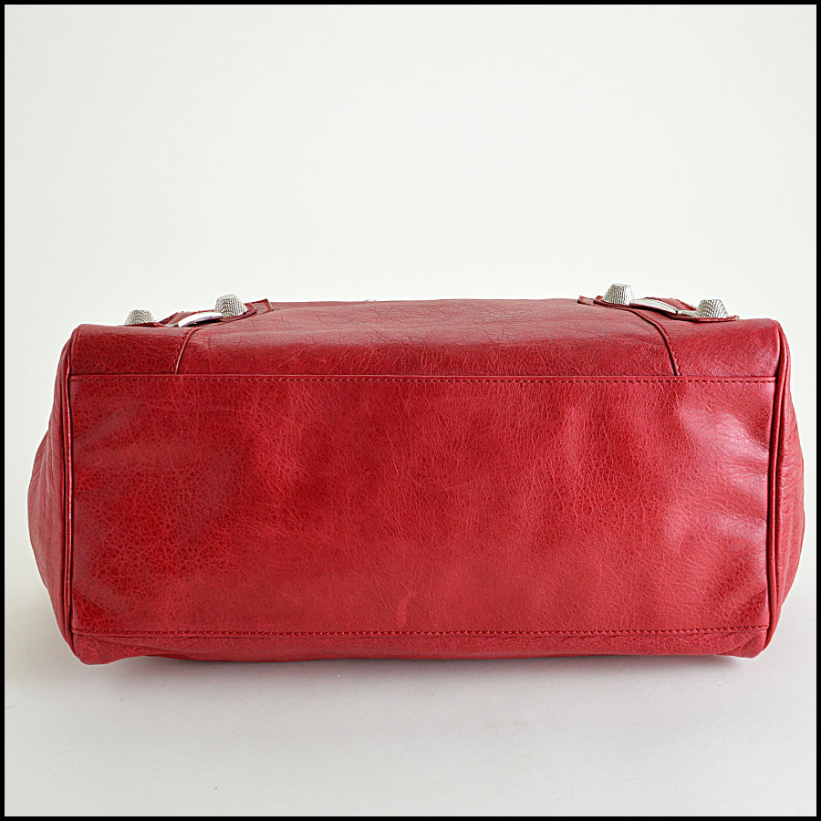 Balenciaga Ruby Red 21mm Silver Giant Mid-Day Tote Bottom