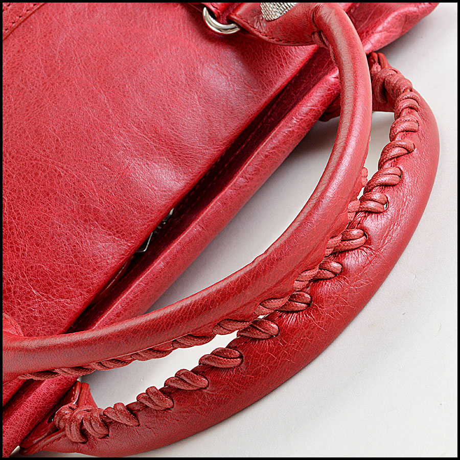 Balenciaga Ruby Red 21mm Silver Giant Mid-Day Tote Handle