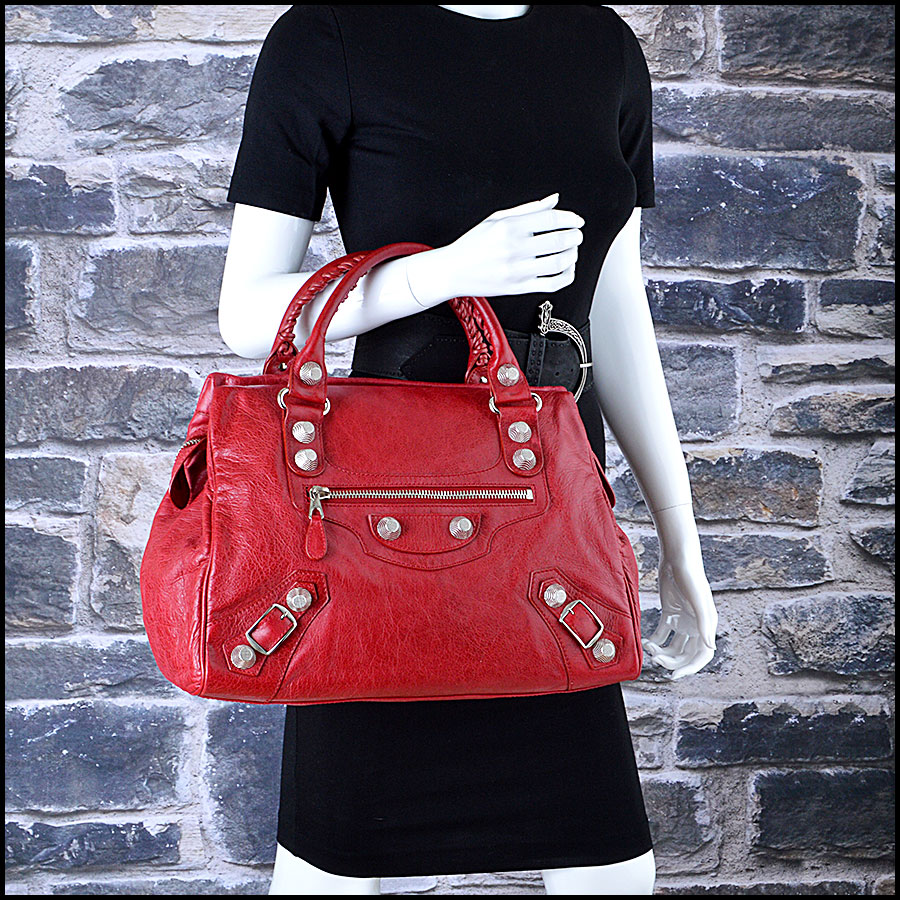 Balenciaga Ruby Red 21mm Silver Giant Mid-Day Tote mannequin