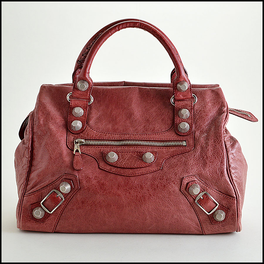 Balenciaga Sanguine Maroon 21mm Silver Giant Mid-Day Tote image