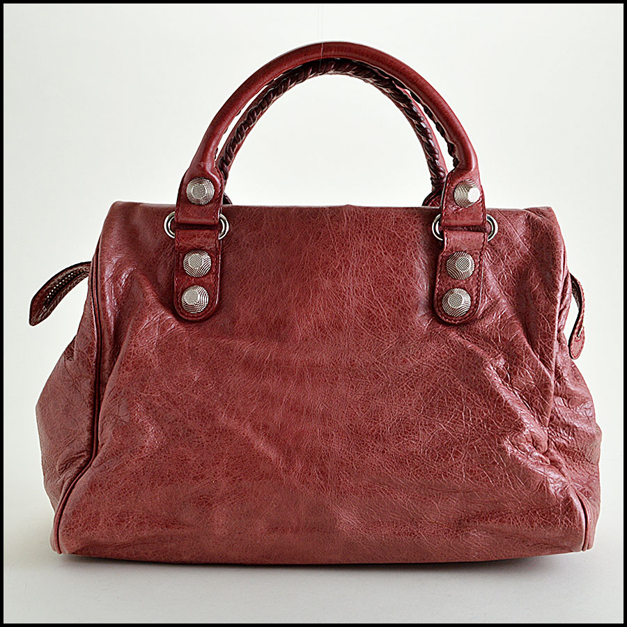 Balenciaga Sanguine Maroon 21mm Silver Giant Mid-Day Tote back