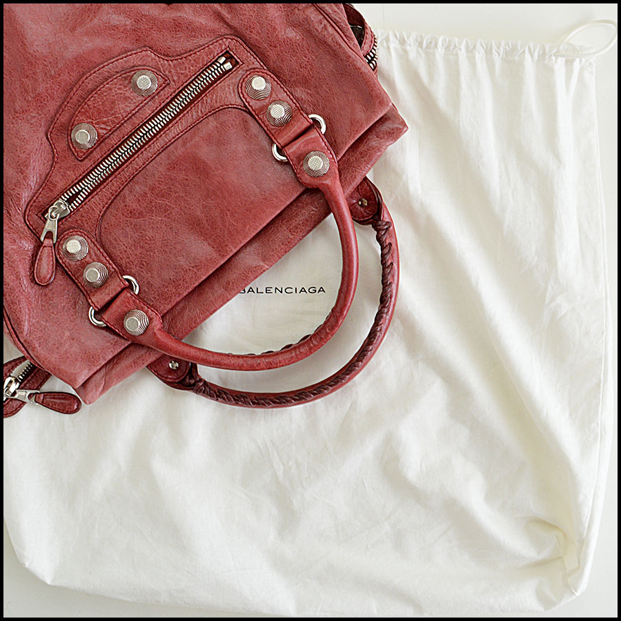 Balenciaga Sanguine Maroon 21mm Silver Giant Mid-Day Tote Extras