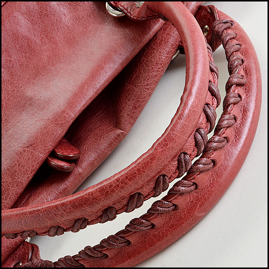 Balenciaga Sanguine Maroon 21mm Silver Giant Mid-Day Tote Handle