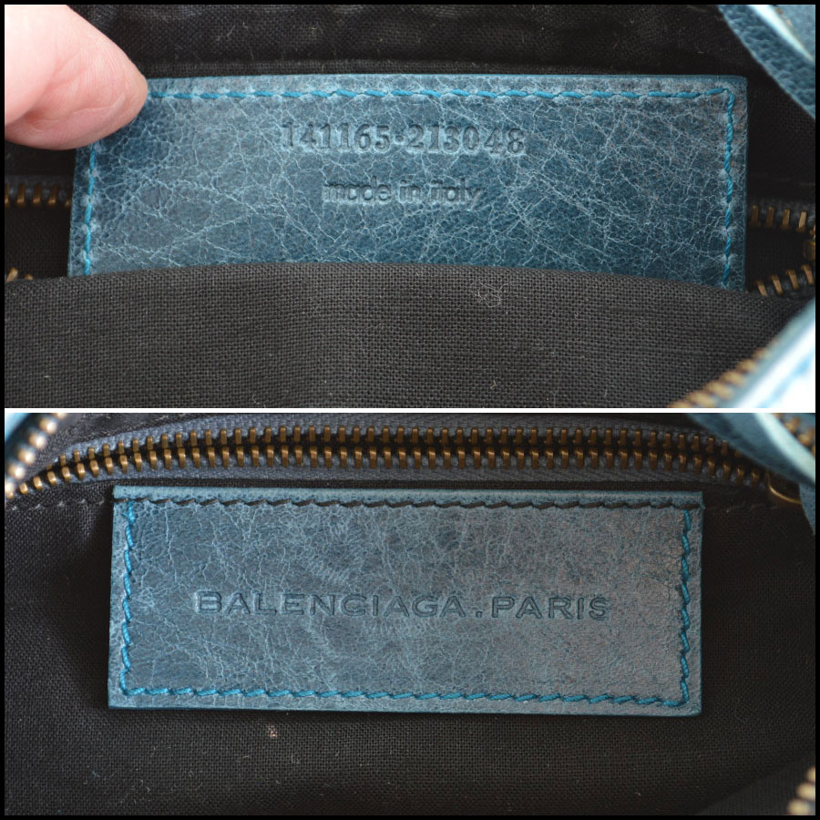 Balenciaga Teal Planet Shoulder logo tag