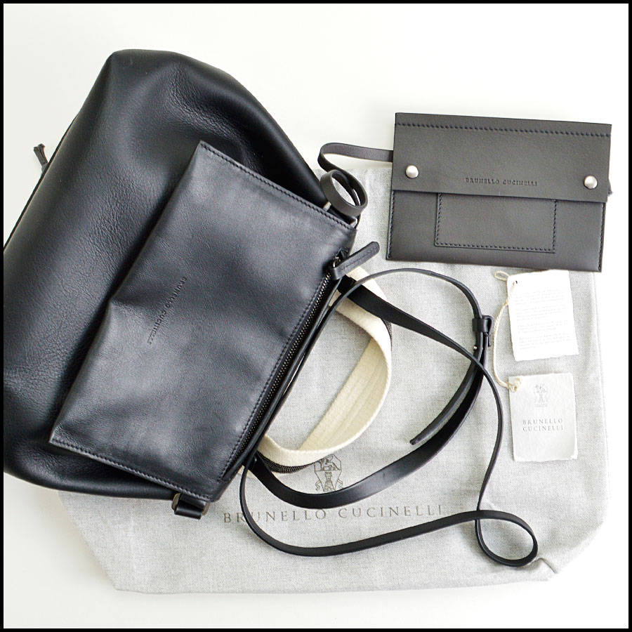 RDC8483 Brunello Cucinelli Black Leather Satchel extras1