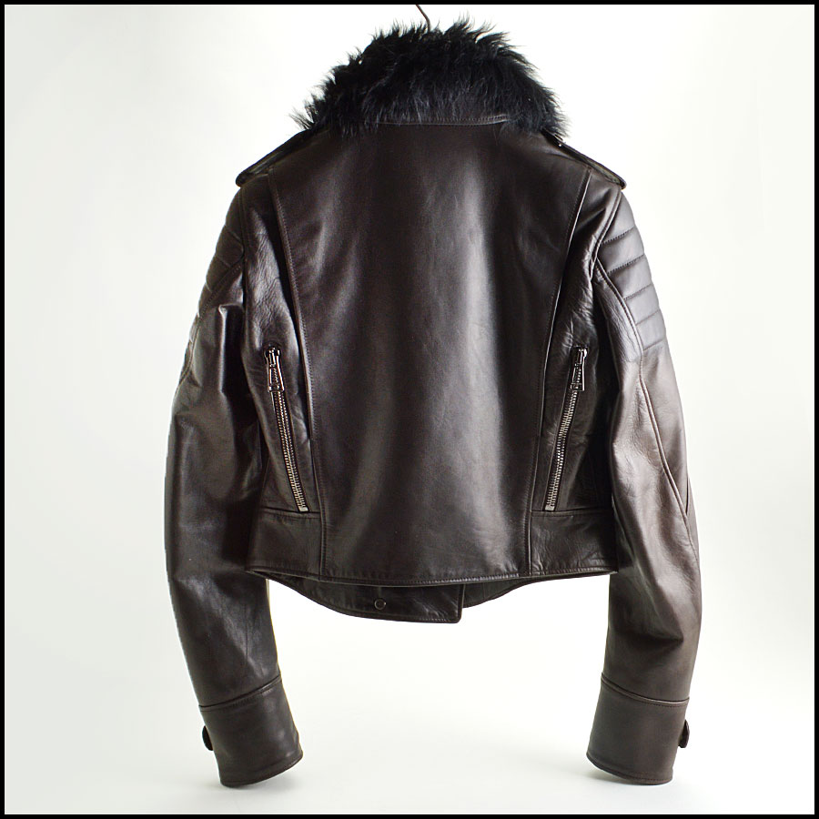 RDC8531 Belstaff Brown and Black fur trim moto jacket back