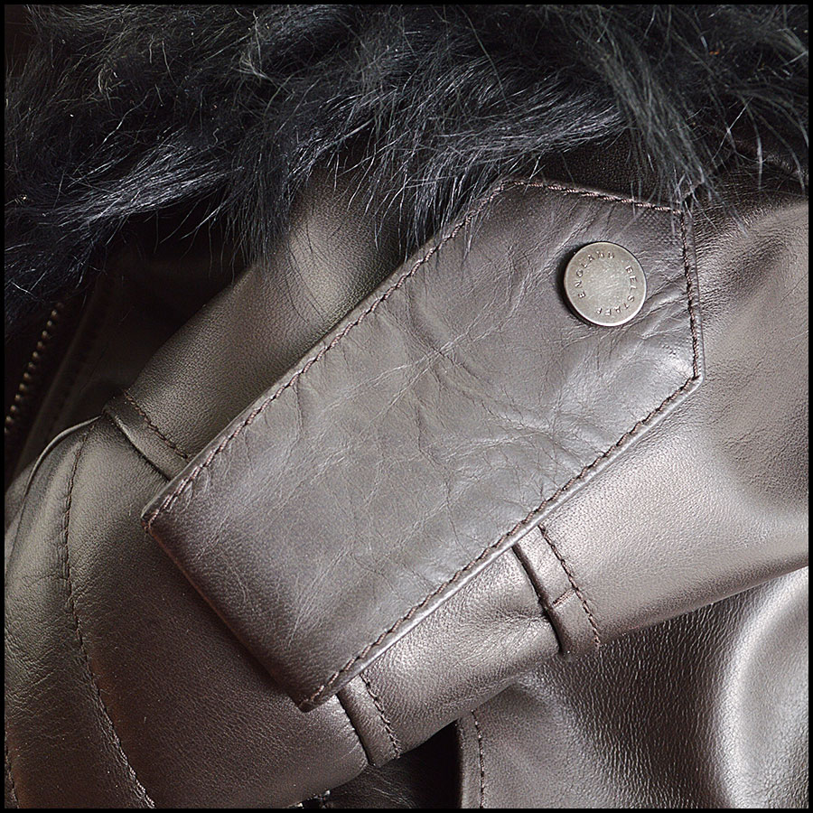 RDC8531 Belstaff Brown and Black fur trim moto jacket close up