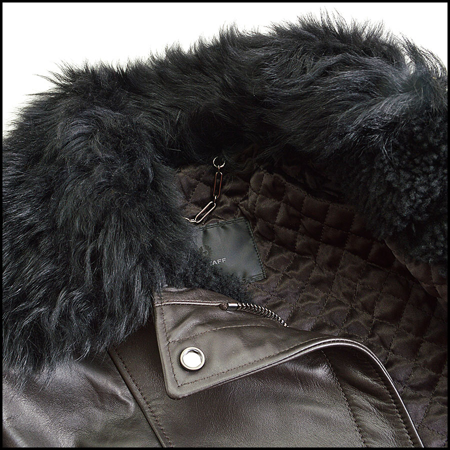 RDC8531 Belstaff Brown and Black fur trim moto jacket close up 3