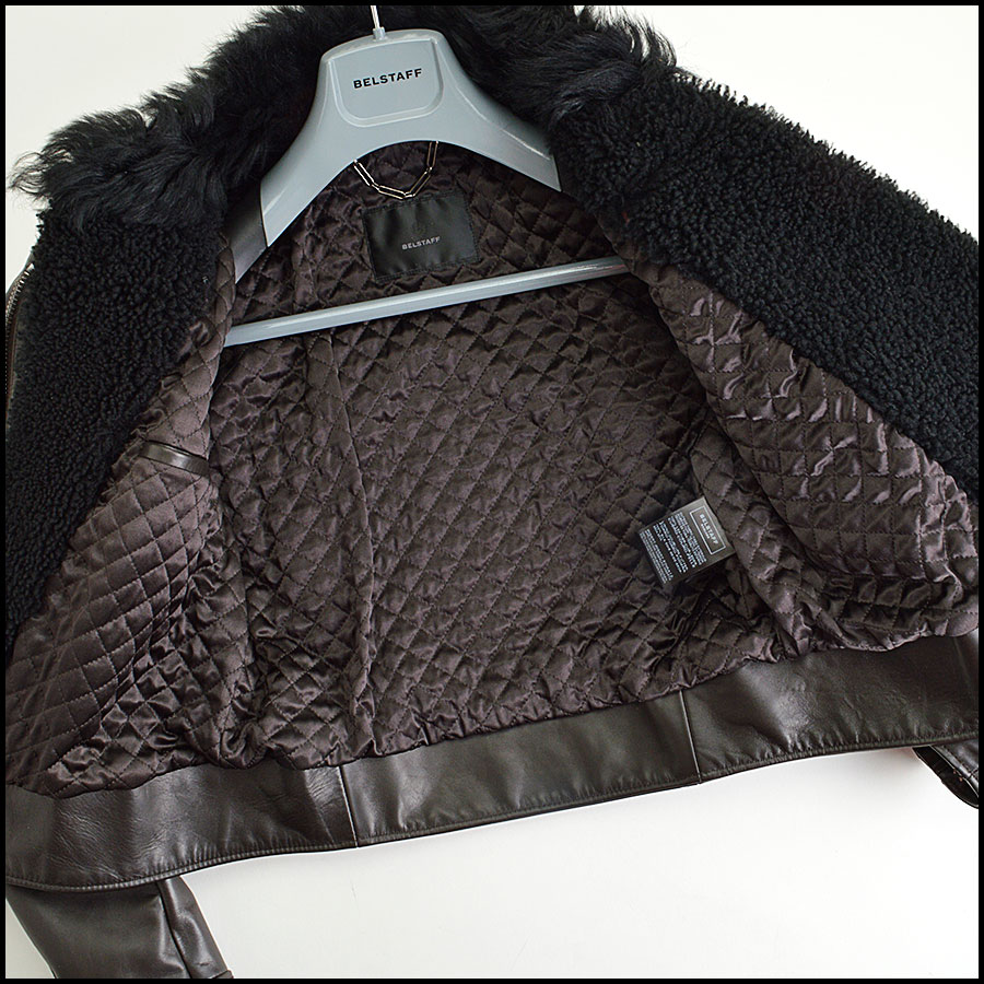 RDC8531 Belstaff Brown and Black fur trim moto jacket inside