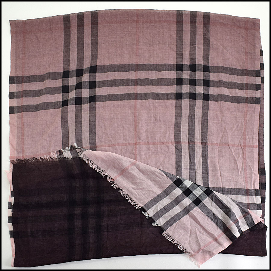 RDC9638 Burberry Pink Ombre Nova Check Wool & Silk Scarf