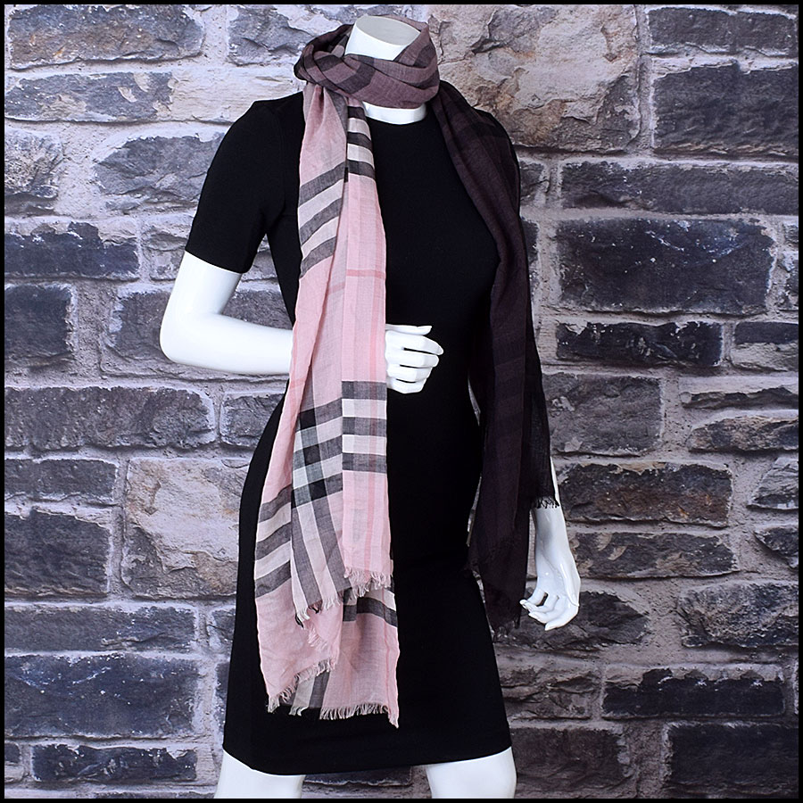 RDC9638 Burberry Pink Ombre Nova Check Wool & Silk Scarf model