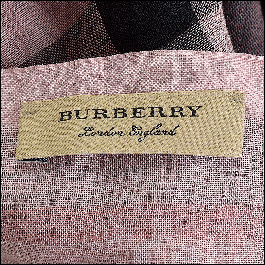 RDC9638 Burberry Pink Ombre Nova Check Wool & Silk Scarf tag 1