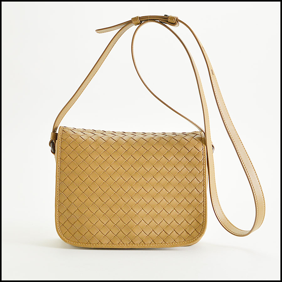 RDC8234 Bottega Veneta Camel Intrecciato Woven Leather Crossbody