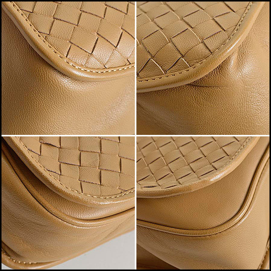 RDC8234 Bottega Veneta Camel Intrecciato Woven Leather Crossbody corners