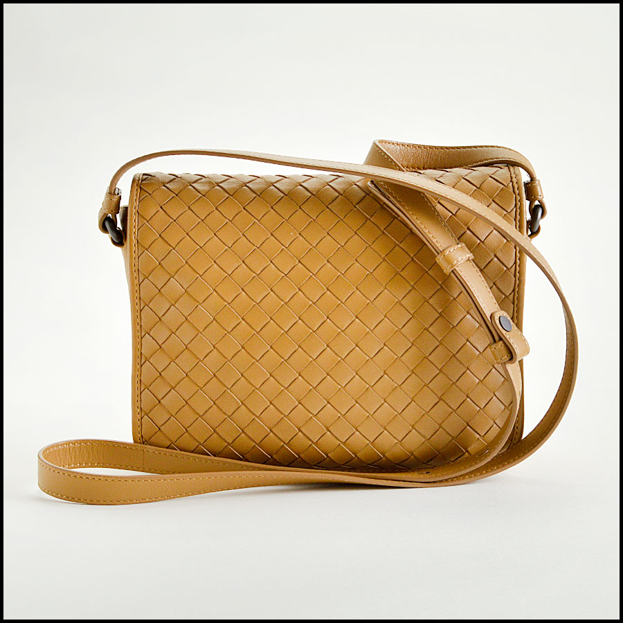 RDC8234 Bottega Veneta Camel Intrecciato Woven Leather Crossbody back