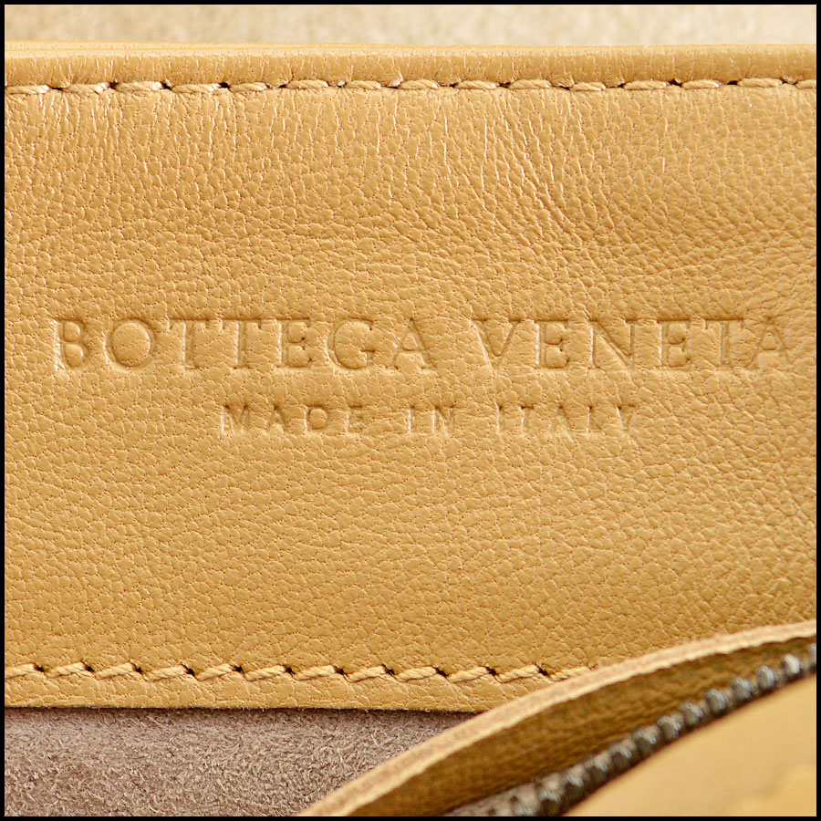 RDC8234 Bottega Veneta Camel Intrecciato Woven Leather Crossbody tag two