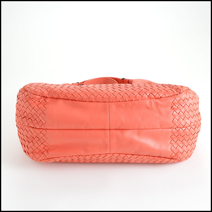 Bottega Veneta Coral Intrecciato Campana Hobo Shoulder Handbag Bottom