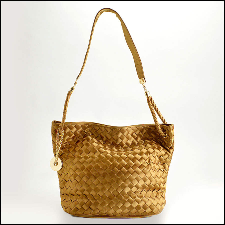RDC8157 Bottega Veneta Gold Satin Intrecciato Tote bag