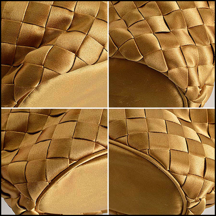 RDC8157 Bottega Veneta Gold Satin Intrecciato Tote bag corners