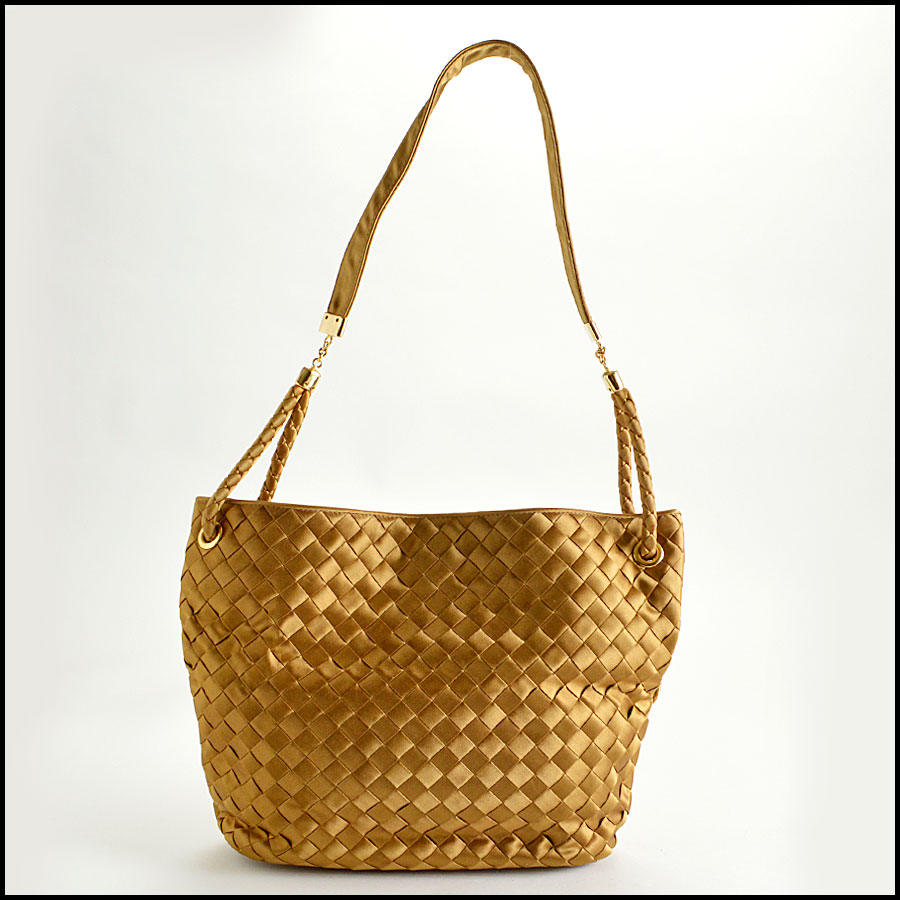 RDC8157 Bottega Veneta Gold Satin Intrecciato Tote bag back