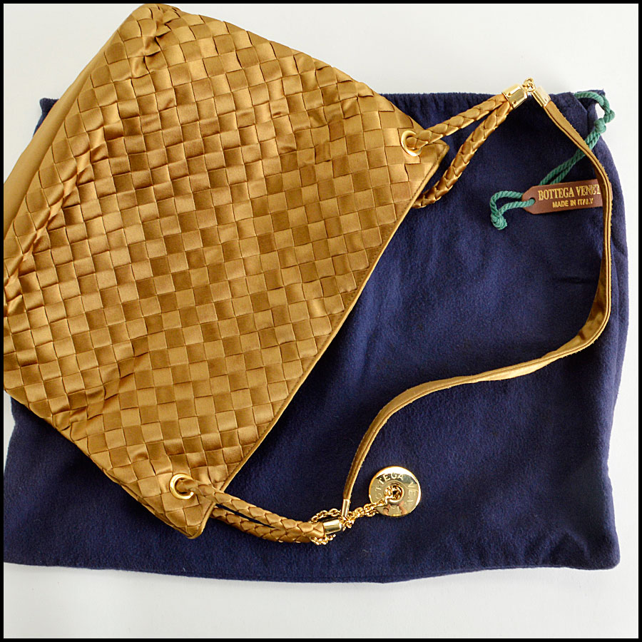 RDC8157 Bottega Veneta Gold Satin Intrecciato Tote bag extras 2