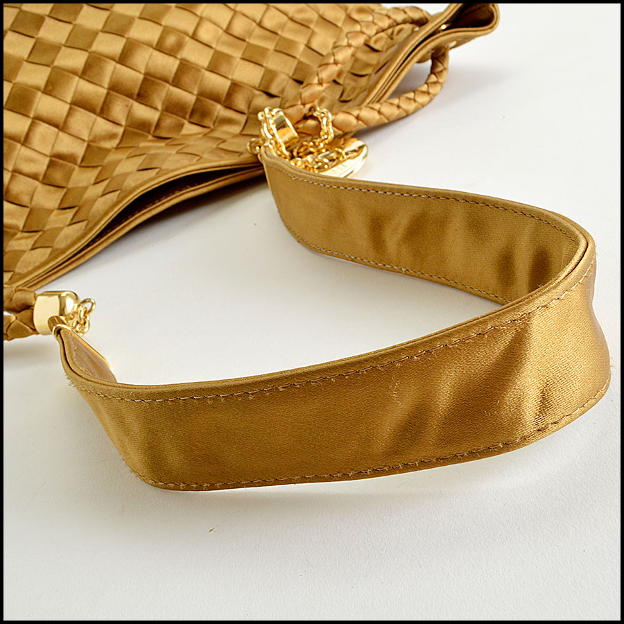 RDC8157 Bottega Veneta Gold Satin Intrecciato Tote bag handle