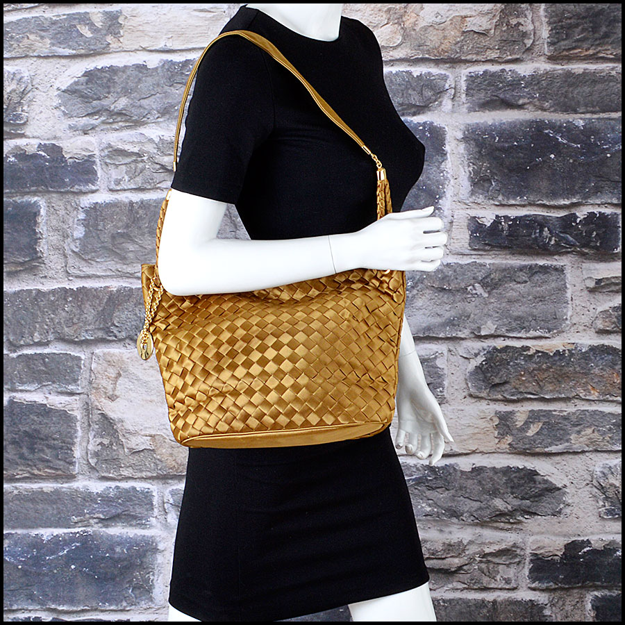 RDC8157 Bottega Veneta Gold Satin Intrecciato Tote bag model