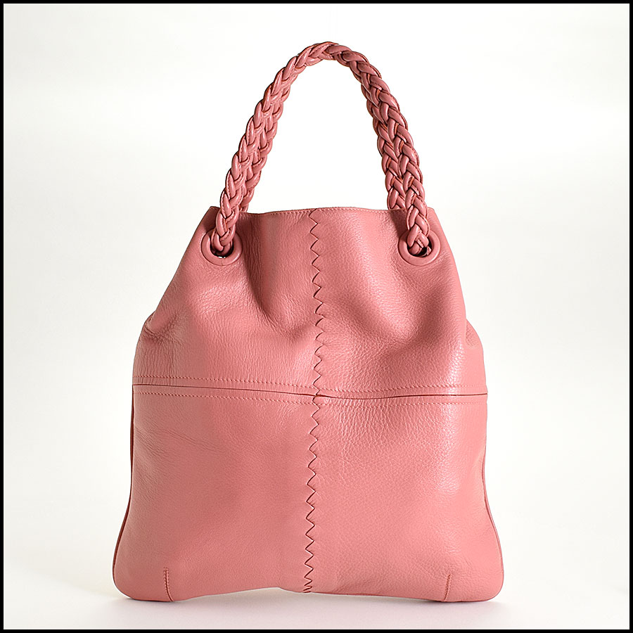 RDC9326 Bottega Veneta Coral Pink Braid Handle Julie back