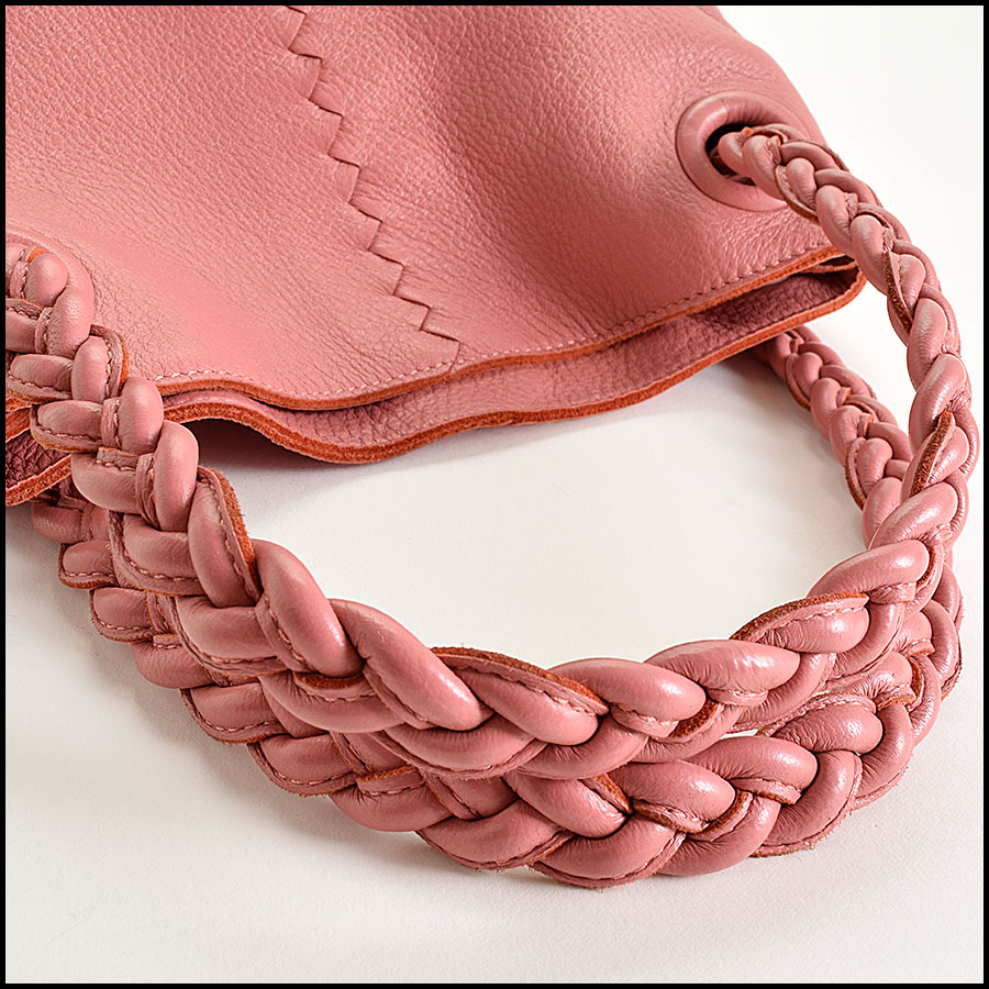RDC9326 Bottega Veneta Coral Pink Braid Handle Julie handle